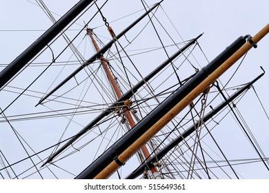 Sailing tackles of an ancient sailing vessel.