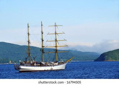 sailing three-master retro ship