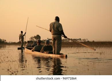 Sailing in traditional mokoro in The Okavango Delta, Botswana