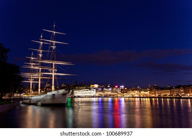 Sailing vessel in the harbour of Stockholm. Night view.
