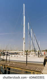 Sailing vessel in the port at the pier. City Groemitz, Northern Germany, coast of Baltic Sea am 09.06.2016. Travel, holiday at sea. Landscape
