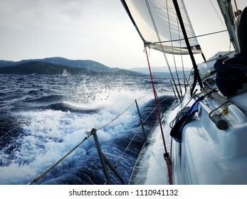 Sailing, waves,  wind, nautic, ship, Close up of sail ship heading land on the waving sea.