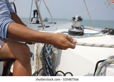 Sailing white boat