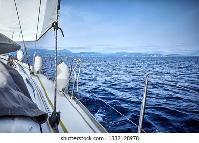 Sailing yacht in the Adriatic Sea of Greece view from the deck