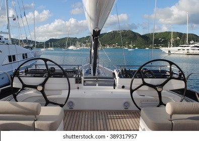 Sailing Yacht Bow and Gear Docked in Antigua, Caribbean, West Indies