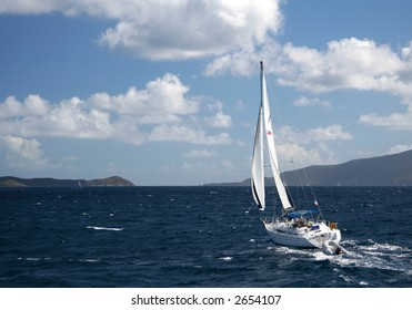 Sailing yacht in the caribbean sea