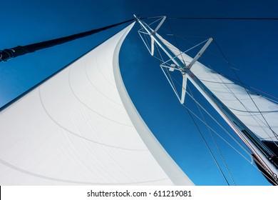 Sailing yacht catamaran sailing in the sea. Sailboat. Sailing in caribbean sea