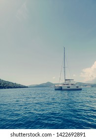 Sailing Yacht Catamaran in the Tropical Sea, Yachting, Luxury Sailing