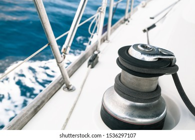 Sailing yacht equipment, sailbot winch close-up photo