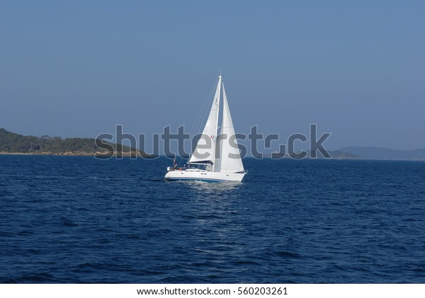 Sailing yacht at the French Coast