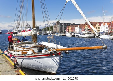 Sailing yacht in the harbor of Bergen. Norway.