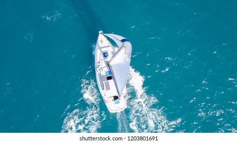 Sailing Yacht at high speed at The Mediterranean Sea - Aerial image