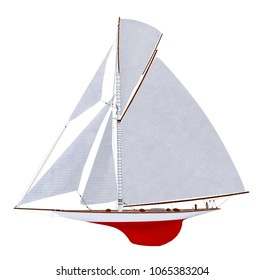 Sailing yacht isolated on white background Computer generated 3D illustration
