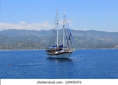 Sailing with yacht at Kekova, Antalya