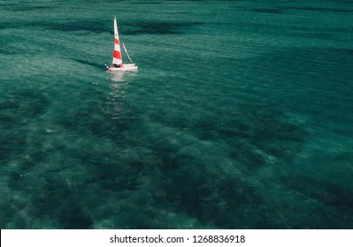 Sailing yacht in the open ocean