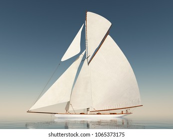 Sailing yacht in the open sea Computer generated 3D illustration