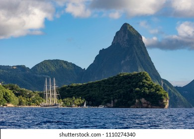 Sailing yacht at the Pitons, famous landmark of Saint Lucia Island, West Indies