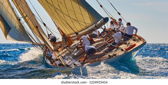 Sailing yacht race. Sports team of yachtsmen is fighting to win the regatta