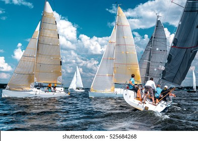 Sailing yacht race. Team athletes participating in the sailing competition. Sailboat. Recreational Water Sports, Extreme Sport Action. Healthy Active Lifestyle. Summer Fun Adventure