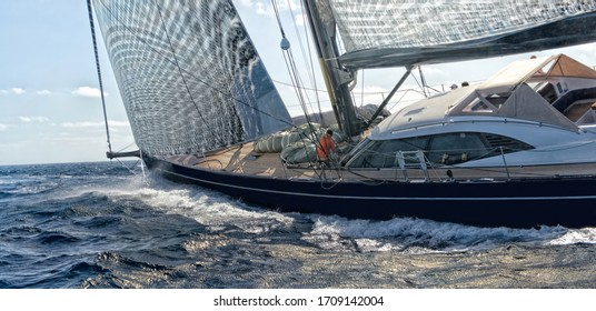 Sailing yacht. Race under the sails. Yachting