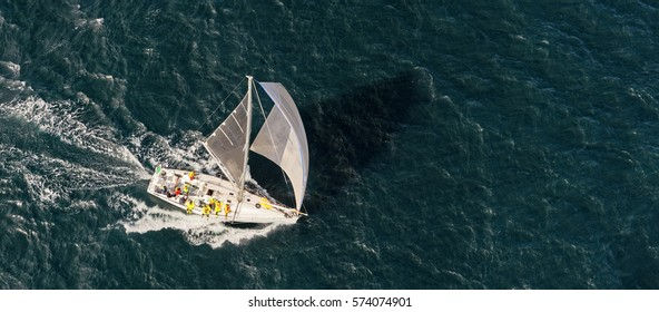 Sailing yacht race. View from helicopter. Yachting. Sailing