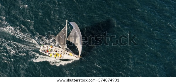 Sailing Yacht Race View Helicopter Yachting Stock Photo Edit Now