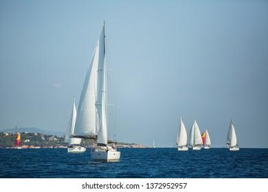 Sailing yacht Regatta at the Aegean Sea. Sailboats.