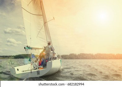 Sailing yacht, regatta. Recreational Water Sports, Extreme Sport Action. Healthy Active Lifestyle. Summer Fun Adventure. Hobby. ( toned)