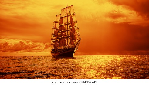 Sailing yacht at sunset in the sea. Instagram effect. Sailing. Yachting