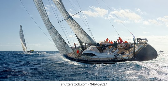 Sailing yacht. Yachting. Sailing