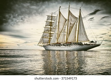 Sailing.  Yachting.  Sailing ship. Toned image and blur. Retro style postcard