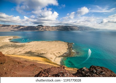 Sailing yachts anchoring in the Bay of Francesa off La Graciosa Island, the smallest of the canary Islands, between La Graziosa and Lanzarote