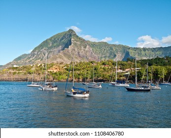 sailing yachts ancoring in Atuona Bay, Hiva Oa, Marquesas Islands,French Polynesia