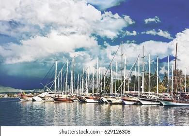 Sailing yachts in marina Fethiye Turkey