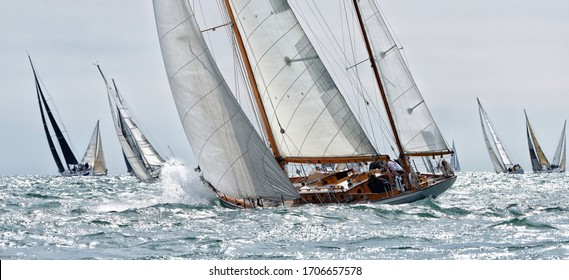 Sailing yachts race. Yachting sport