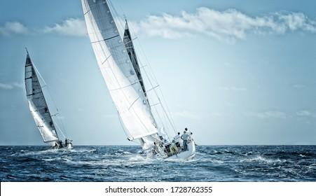 Sailing yachts regatta. Sailboats under sail in the race
