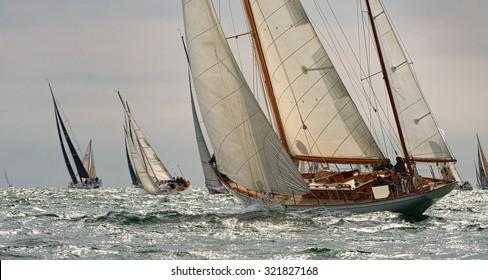 Sailing yachts regatta. Series yachts and ships. Yachting. Sail. Race