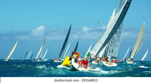 Sailing.Sailing yachts competing in the regatta. Luxury boats. Yachting