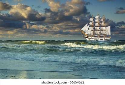 sailing-ship on background of clouds