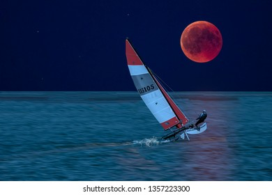 Sailor with catamaran sailboat sailing by night with full moon alone on the ocean.