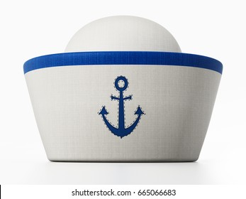 Sailor hat with anchor icon isolated on white background. 3D illustration