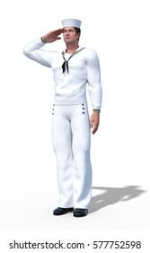 A sailor is wearing a Navy uniform and saluting - 3d render.