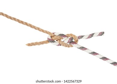 sailor's breastplate knot joining two ropes isolated on white background