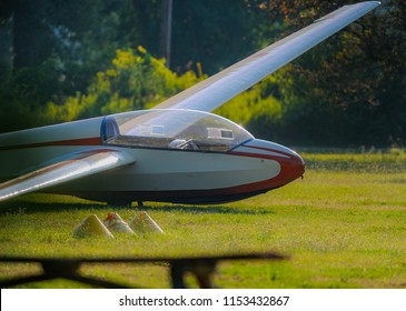 sailplane at airport in early morning