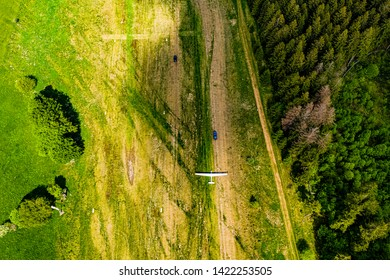 Sailplane in Germany from above