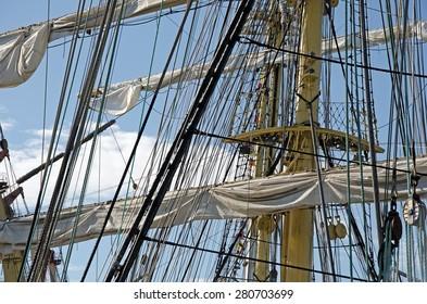 Sails on the masts on a sailboat Kruzenshtern