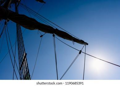 Sails and ropes of the main mast of a caravel ship, Santa María Columbus ships
