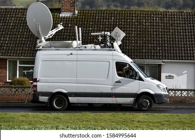 Sailsbury, UK - 2 March, 2018: An outside broadcasting van is seen parked near a crime scene. Media reported from the scene of police investigation.