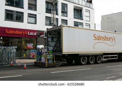 Sainsbury Lorry delivery goods to Sainsbury Local, Camden Town London, March 4, 2017.