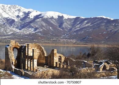 Saint Achilleios old Byzantine church ruins at lake Prespa in Greece
